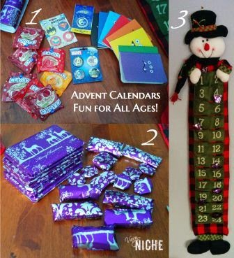 Assorted candy, buttons, and mini books wrapped up and placed in a refillable snowman advent calendar. VaryNiche.com