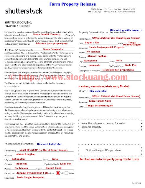 cara mengisi property release di shutterstock