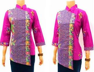 Baju atasan batik kerja bank untuk wanita lengan panjang
