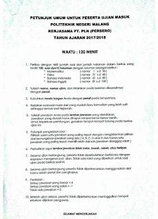 Soal tes kerja sama PLN 2017 Polinema
