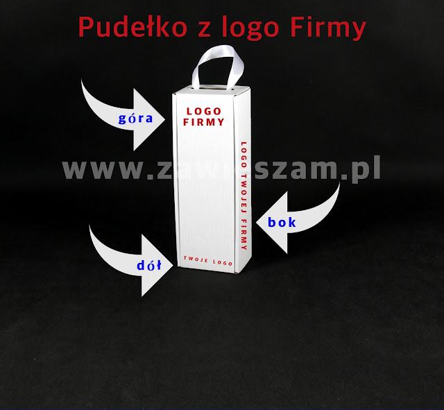 Pudełko na wino ze wstążką z logo