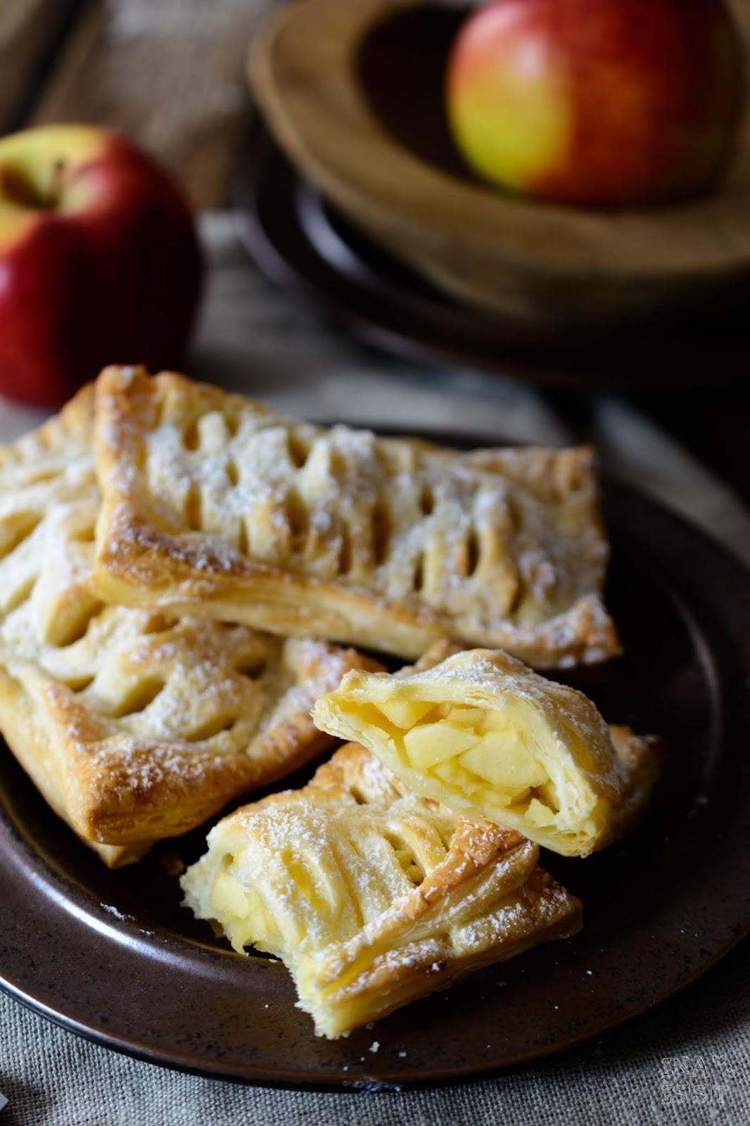 Rezept für schnelle Apfeltaschen mit Blätterteig und Vanille wie von Mc Donalds