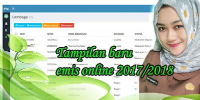 Begini Tampilan Awal Menu dan Submenu Emis Online 2017/2018