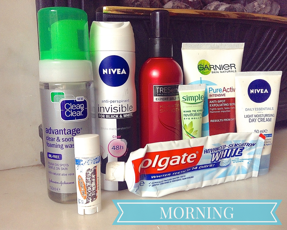 morning routine hair and skincare