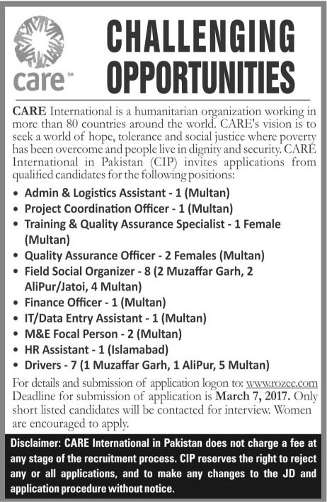 Care International Pakistan Jobs For Islamabad, Multan, Muzaffer Garh