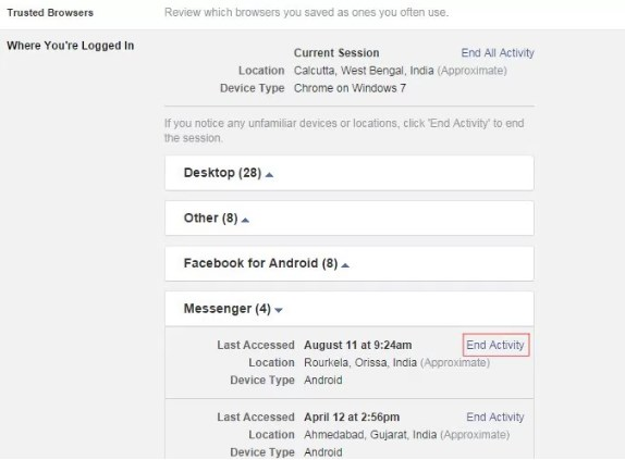 how to logout of messenger on samsung