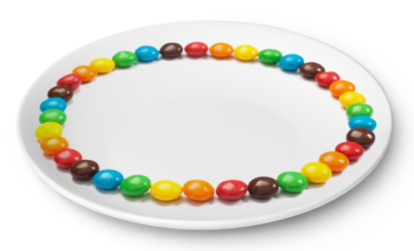 Skittles on a plate for a kids science experiment