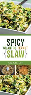 Spicy Cilantro-Peanut Slaw found on KalynsKitchen.com