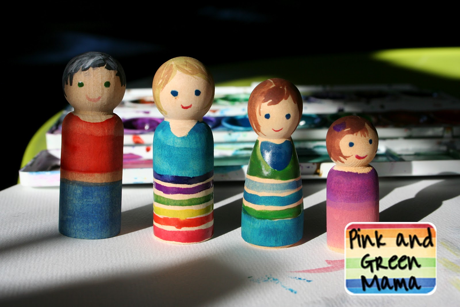 Pink And Green Mama Peg Doll Family