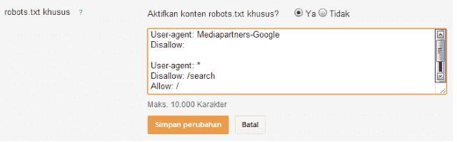 pengertian robot txt dan car membuatnya pada bloggspot