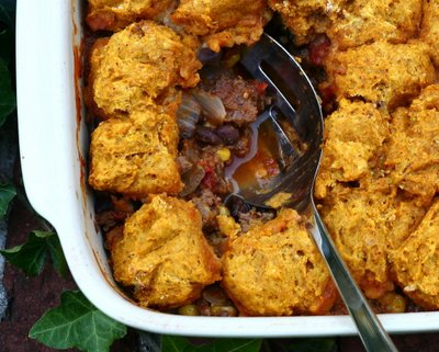 Supper Casserole with Pumpkin & Green Chile Cornbread Topping, an easy fall supper ♥ AVeggieVenture.com, meat and veggies topped with a pumpkin-green chile cornbread.