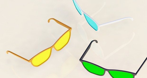 Composición de 3 gafas diseñadas con SolidWorks vistas desde arriba