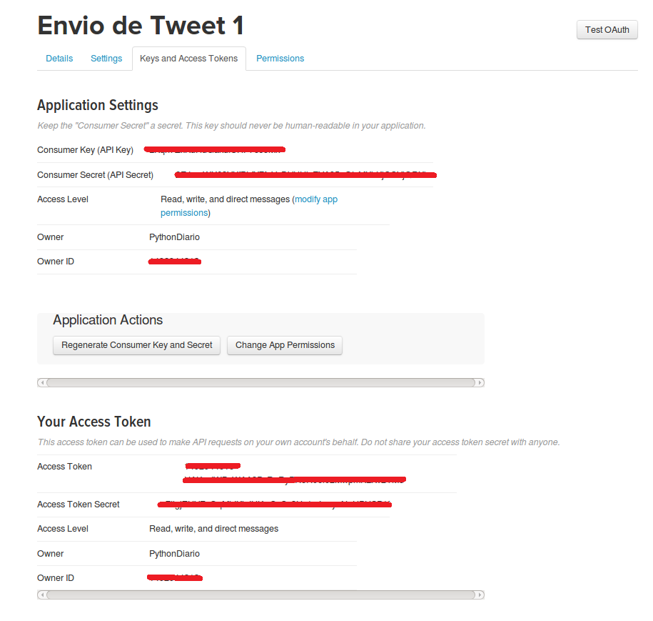 access token twitter read write and type