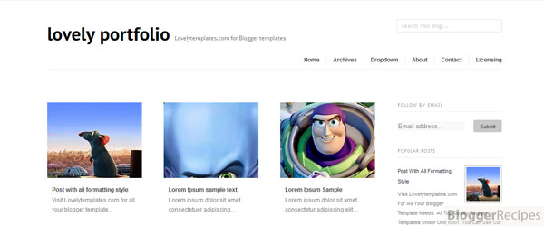 Lovely Portfolio Blogger Template