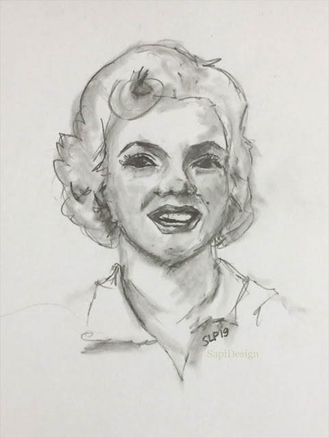 Marilyn Monroe Norma Jean actress portrait drawing illustration sketching SapiDesign
