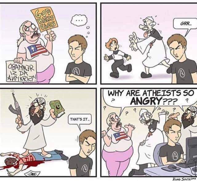 Why are atheists so angry? Cartoon Picture