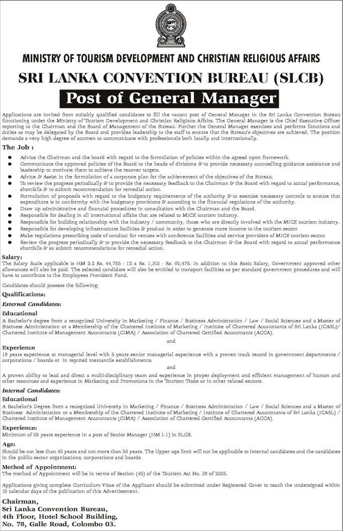 Vacancies - General Manager - Sri Lanka Convention Bureau (SLCB) - Ministry of Tourism Development and Christian Religious Affairs