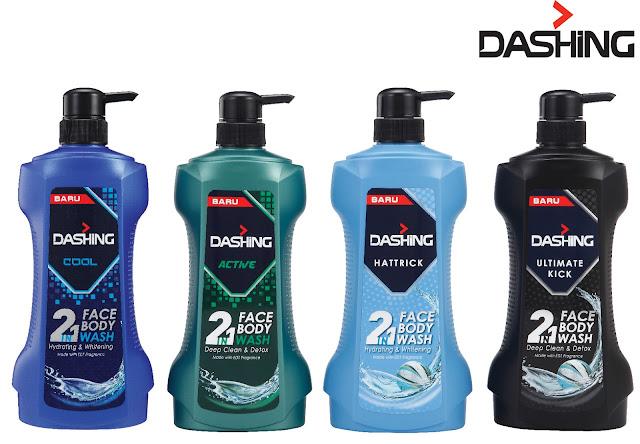 pilihan body wash untuk lelaki, tanan terserlah dengan menggunakan  wash dashing, bau memikat body wash dashing