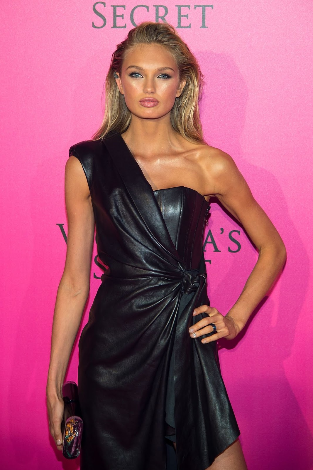 Lovely Ladies in Leather: Romee Strijd in a leather dress