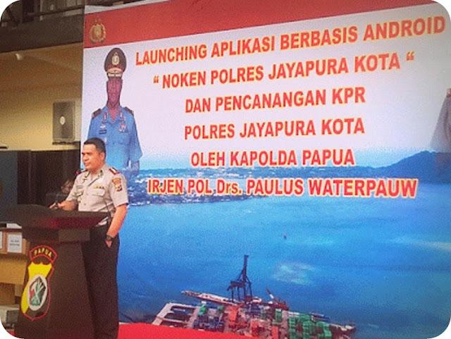 Paulus Waterpauw Launching Aplikasi Noken Polres Jayapura Kota