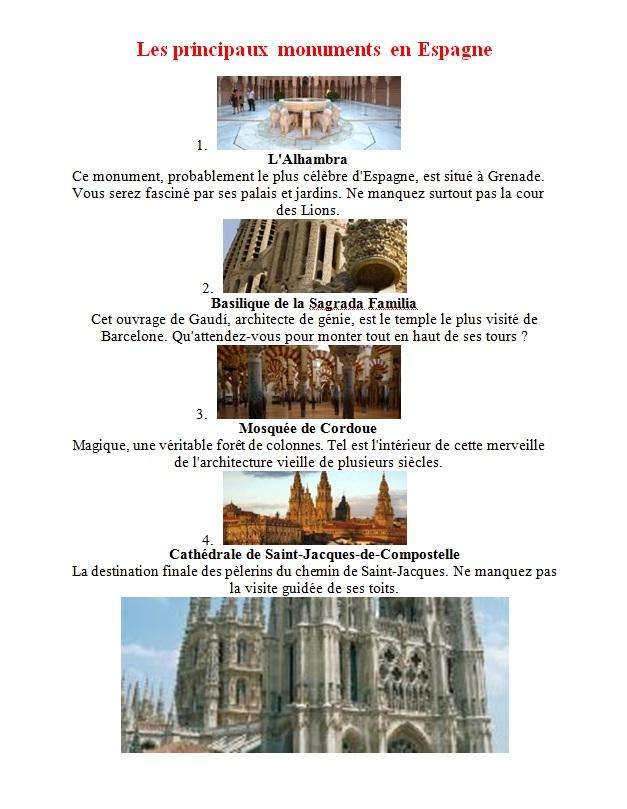 بحث جاهز حول اسبانيا بالفرنسية