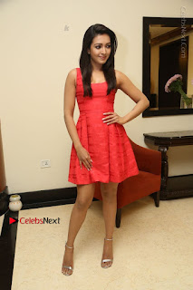 Actress Catherine Tresa Latest Pos in Red Short Dress at Intex Air Conditioners Launch  0037.jpg