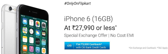 iPhone 6 (16GB) at Rs.27,990/- or less + Special Exchange Offer | No Cost EMI