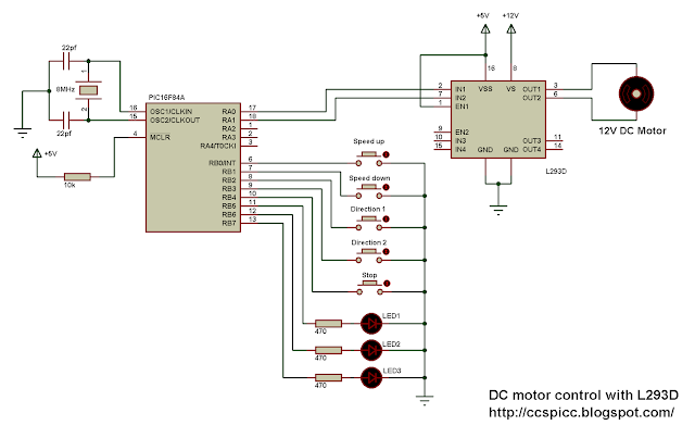 DC motor speed/direction control using PIC16F84A and L293D CCS PIC C