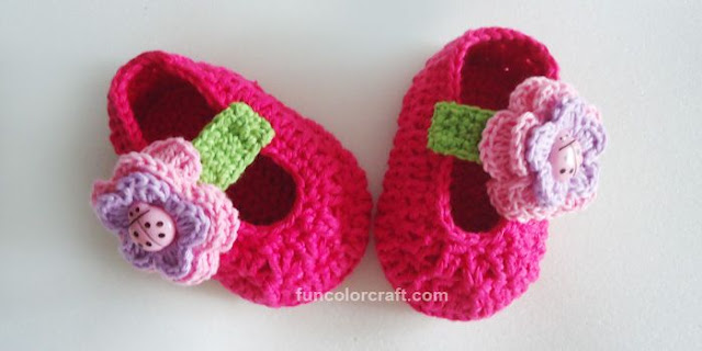 Flower Bug Baby Shoes Free Crochet Pattern - Funcolor Craft