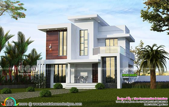 4 BHK box model modern flat roof Kerala home 1255 sq-ft