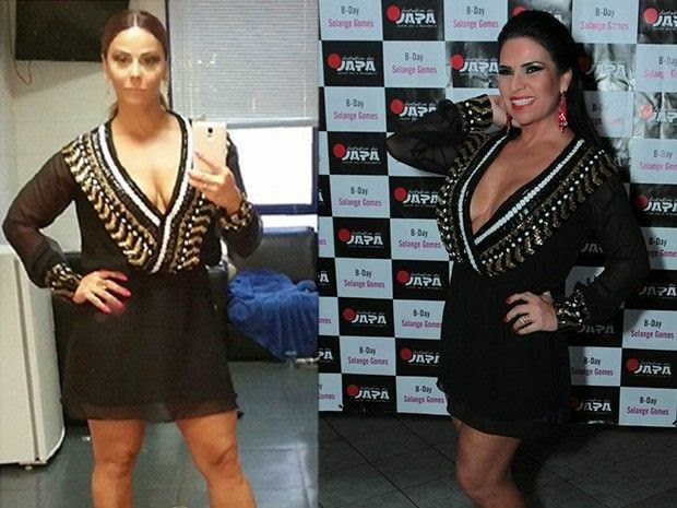 Viviane Araujo e Solange Gomes mesmo vestido