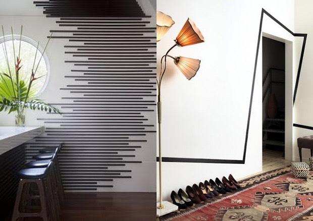 Decore sua parede com listras de fita isolante