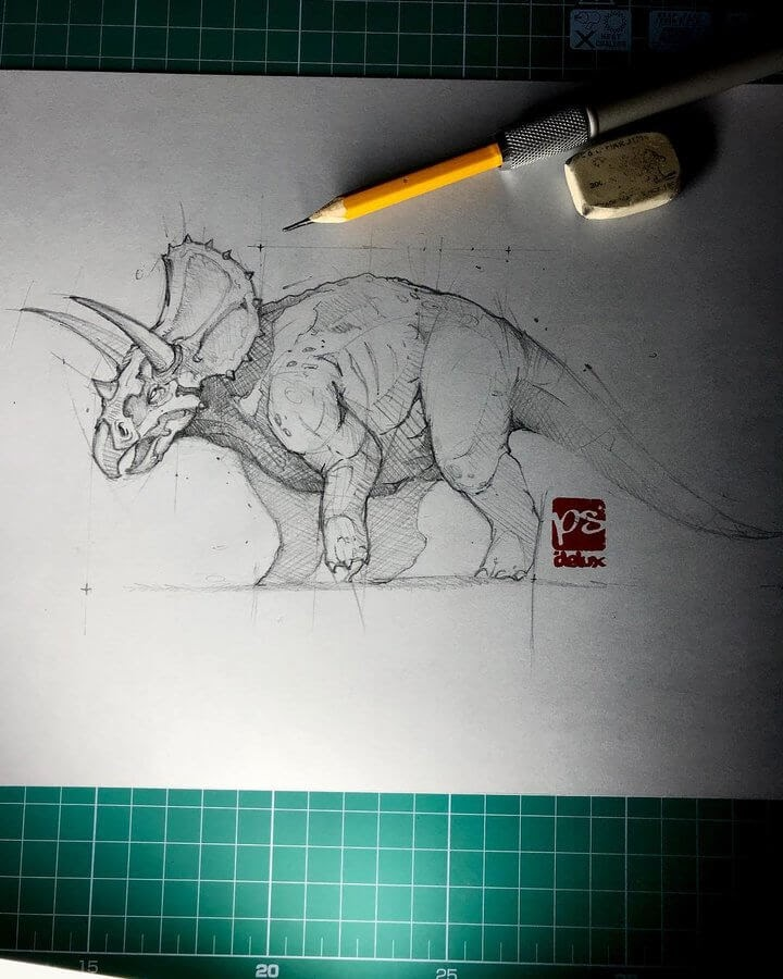 12-Triceratops-Psdelux-Fineliner-Ink-and-Pencil-Animal-Drawings-www-designstack-co