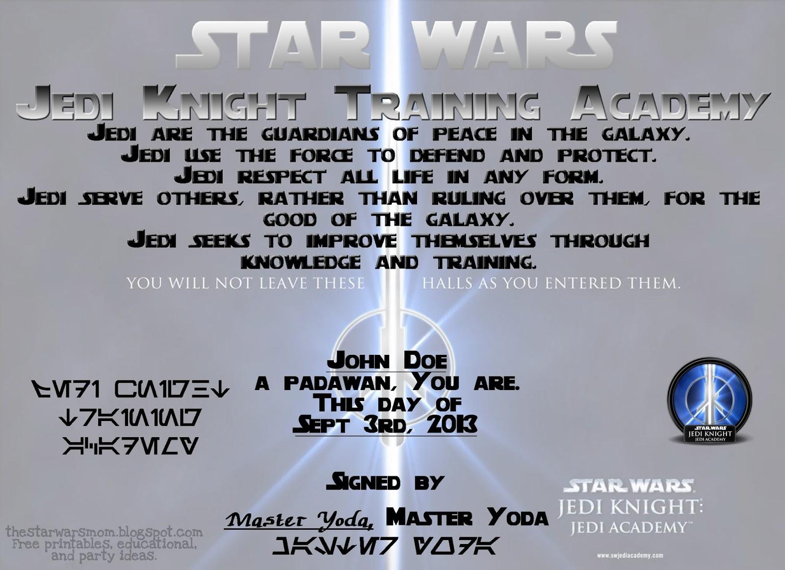 Star Wars - Jedi Knight Training Academy Certificate - Free