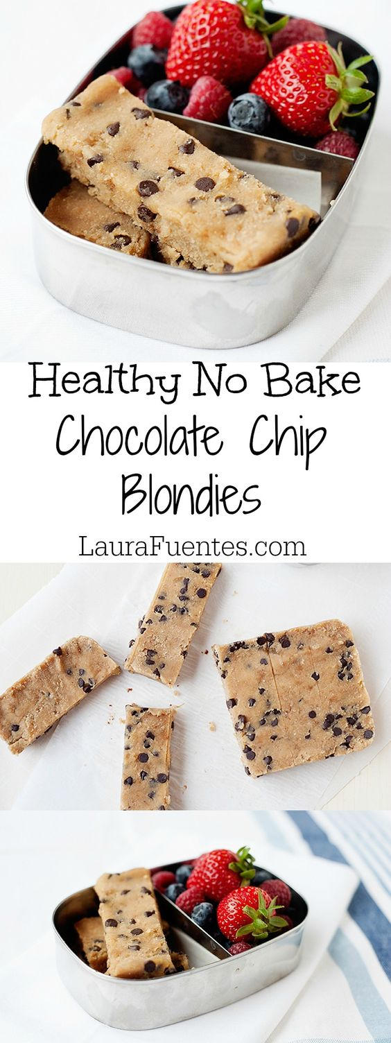 NO BAKE HEALTHY CHOCOLATE CHIP BLONDIES #nobake #chocolate #chocolatechip #blondies #healthyrecipes #healthyfood #healthysnacks
