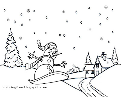 Free Merry Christmas Coloring Printables Snowboarding Winter Sport Art Drawing Ideas For Teenagers