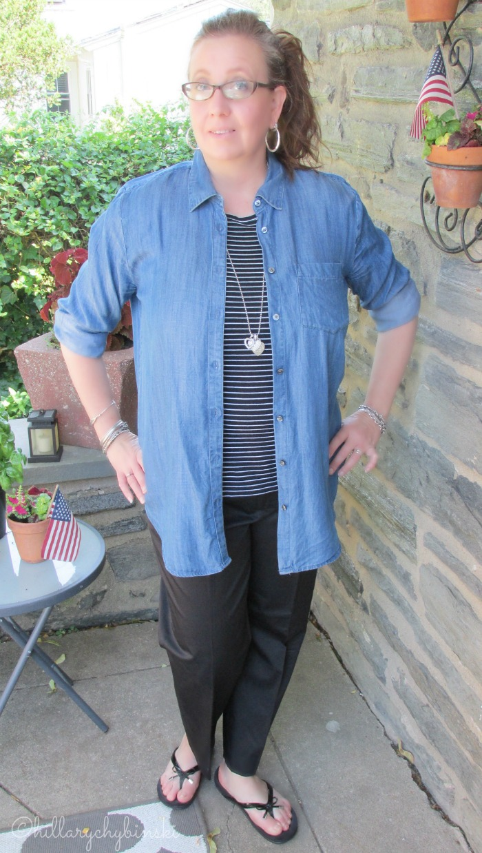 Simple and Casual Outfit Idea: Black and White Paired with Chambray