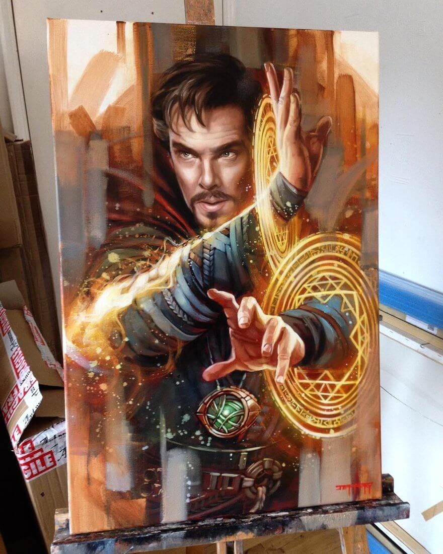 08-Benedict-Cumberbatch-Dr-Strange-Marvel-Ben-Jeffery-Superhero-and-Villain-Movie-Paintings-www-designstack-co