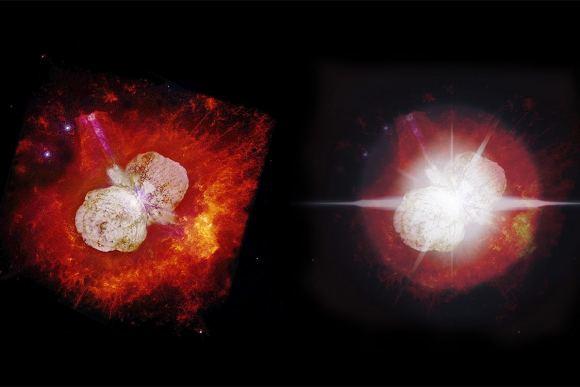 Estrela Eta Carinae como vemos hoje à esquerda e como veremos dentro de aproximadamente 10 anos à direita