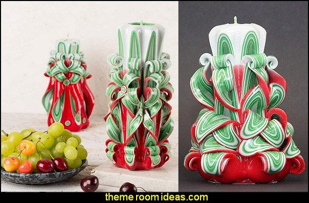 Christmas Tree Decorative Carved Candles  candy Christmas theme decorating - candy themed christmas decorations - christmas candyland decorations -  candy ornaments -  candy shaped holiday ornaments - candy themed Christmas decor -   lollipop candy swirls Throw Pillows - Candy Christmas Tree  - candy stripe Chritmas decor - Candy Cupcake Ornaments