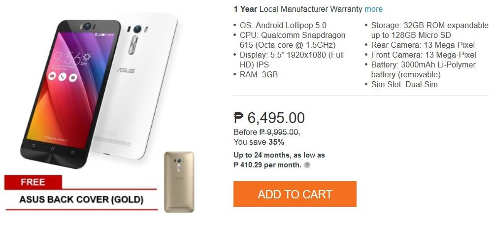 Asus ZenFone Selfie Now only Php6,495 at Lazada