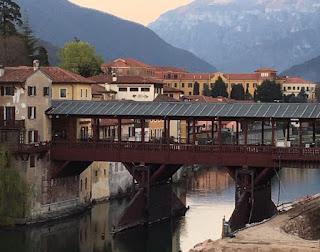 The Ponte Vecchio - or Ponte degli Alpini - was originally  built by Andrea Palladio in 1568