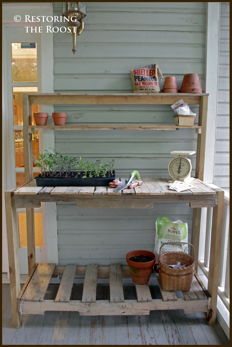 Restoring The Roost Diy Wood Pallet Potting Bench