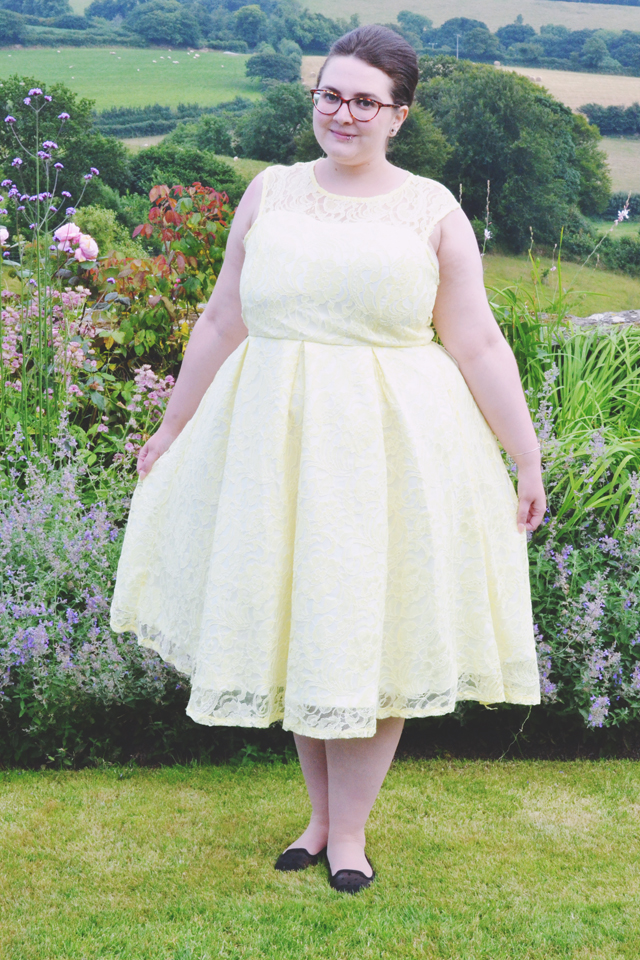 Yellow lace bridesmaid dress