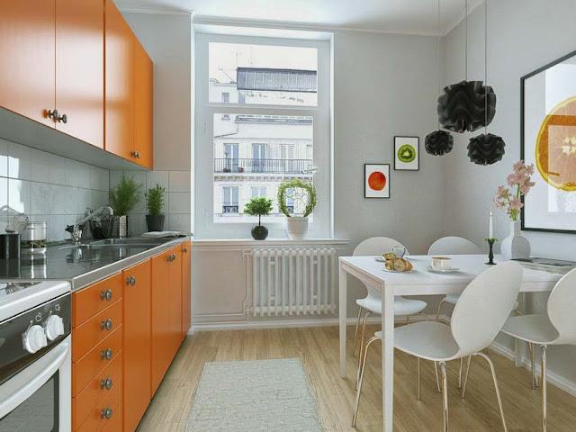 Desain 3D Interior Ruang Makan Yang Mungil