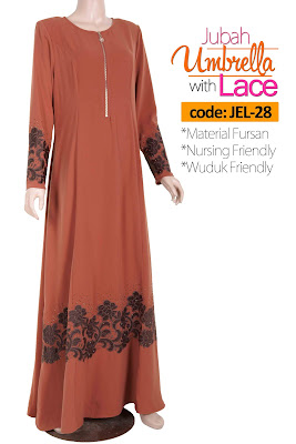 Jubah Umbrella Lace JEL-28 Persian Brown Depan 1