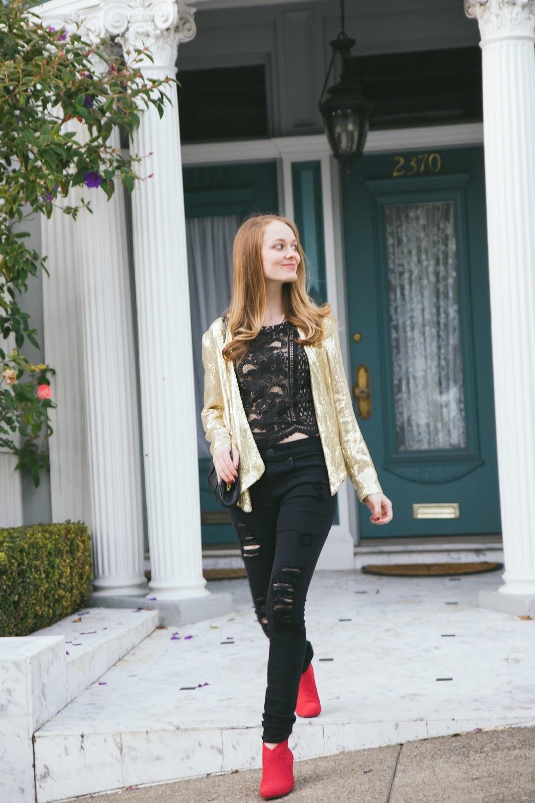 Gold-Sequin-Blazer-Red-Booties-San-Francisco-Blogger
