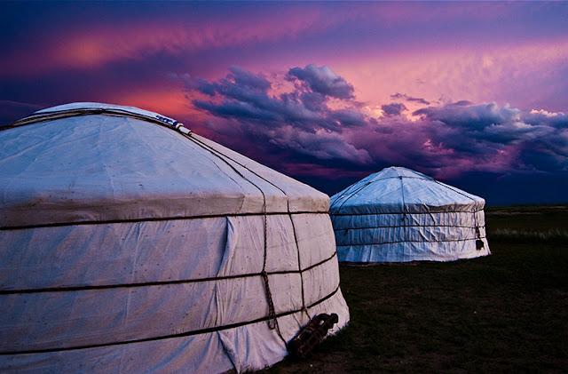Two Mongolian gers. Gobi Desert.