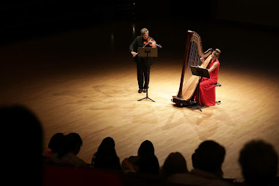 Crimson Duo with Jaymee Haefner (classical harp) and Matt Milewski (violin) performing Patricio da Silva in Hong Kong at the International Harp Conference, July 2017.