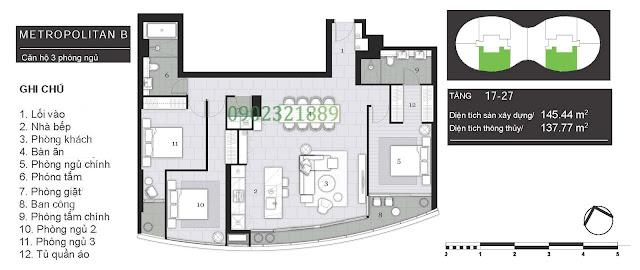 Tháp Pormenade căn hộ City Garden: Metropolitan B - 3 Phòng ngủ